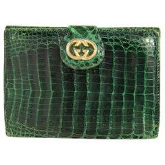 Gucci Green Crocodile Leather Vintage Cardholder, 1970s