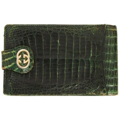 Gucci Green Crocodile Leather Vintage Check Holder, 1970s