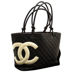 CHANEL Cambon Tote Large Shoulder Bag Black Quilted Calfskin CC