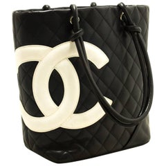 CHANEL Cambon Tote Shoulder Bag Black Quilted Calfskin Leather CC