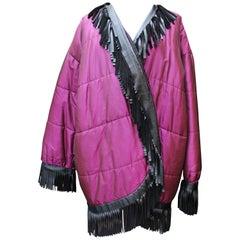 1980s Yves Saint Laurent Rive Gauche purple and black waterproof coat