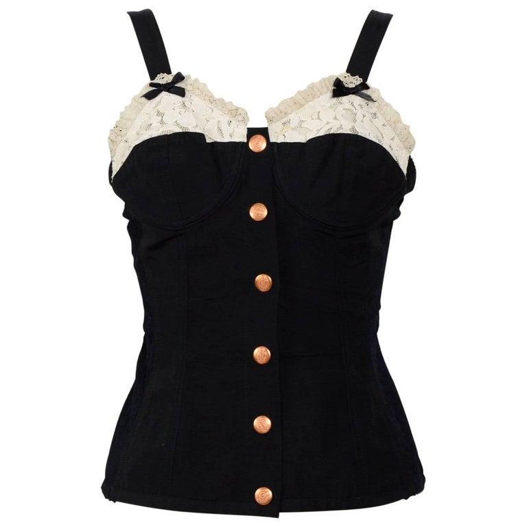 Jean Paul Gaultier vintage black corset top, 1980's