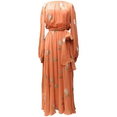 Fall 1974-1975 Jean Patou Haute Couture Défilé long orange evening gown