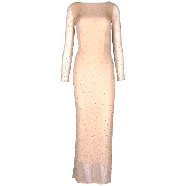 Glamorous Gucci by Tom Ford 2000 Nude Silk Swarovski Crystals Beaded Gown