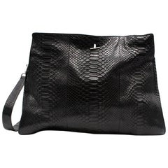 Celine Black Python Satchel Bag