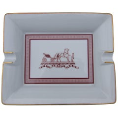 Hermes Printed Porcelain Cigar Ashtray Change Tray Traditional Caleche Logo