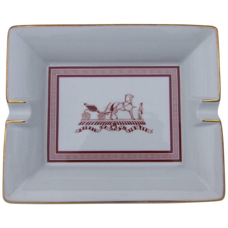 Hermes Printed Porcelain Cigar Ashtray Change Tray Traditional Caleche Logo