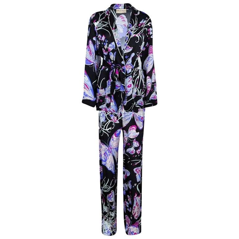 Emilio Pucci Signature Print Silk Ensemble Pants Lounge Evening Suit
