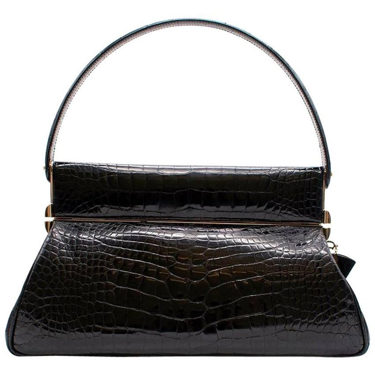 Dior Black Crocodile Babe Bag with Concealed mirror compartment