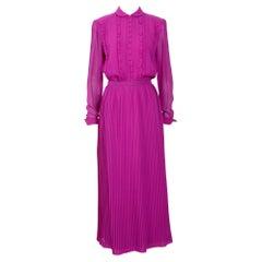 Jean Louis Scherrer silk pleated chiffon blouse & skirt set, 1970's