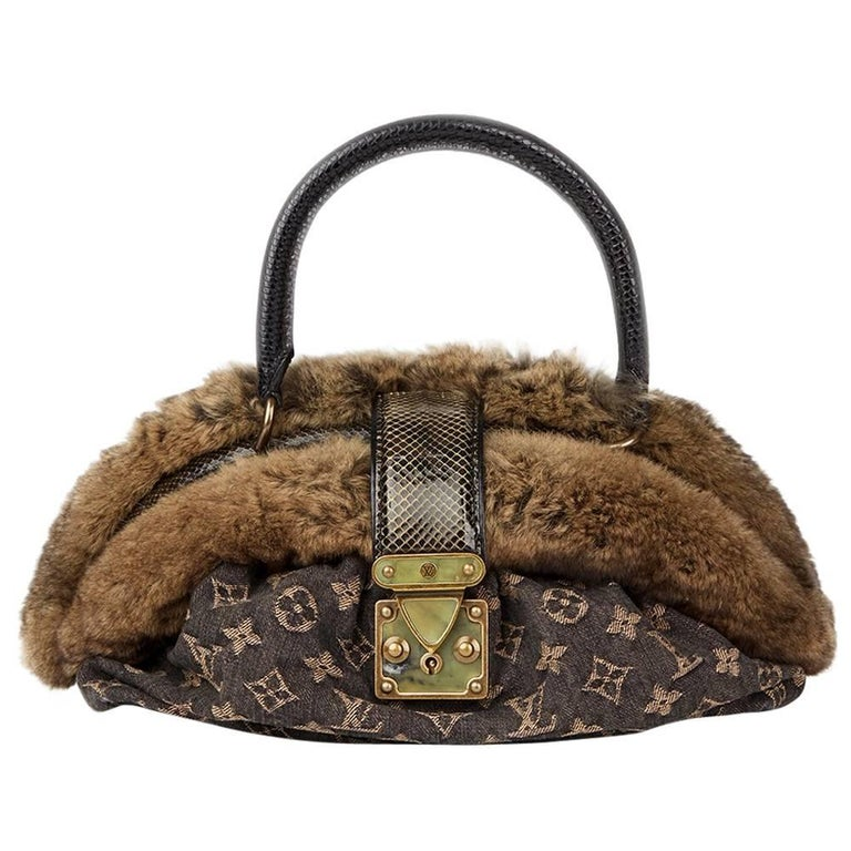 2005 Louis Vuitton Denim Chinchilla Fur Lizard And Python Trim Demi Lune MM