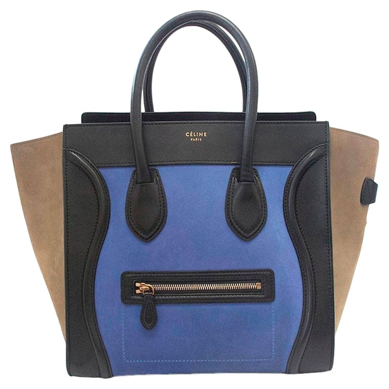 Celine suede colbat blue and taupe luggage tote For Sale