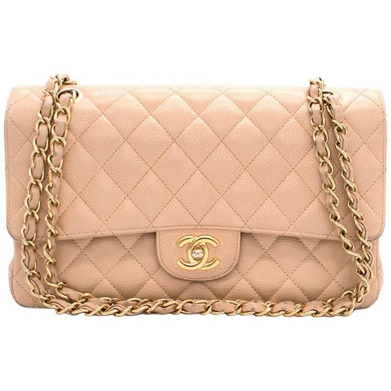 Chanel Beige Quilted Double Flap Bag