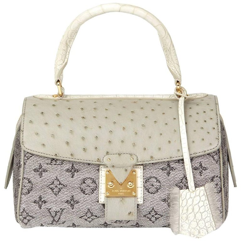 2010 Louis Vuitton Grey Alligator, Ostrich & Mink Jacquard Comedie Carousel