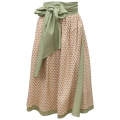 1970's Charlotte Ford Sage Green Silk Wrap Skirt With Print