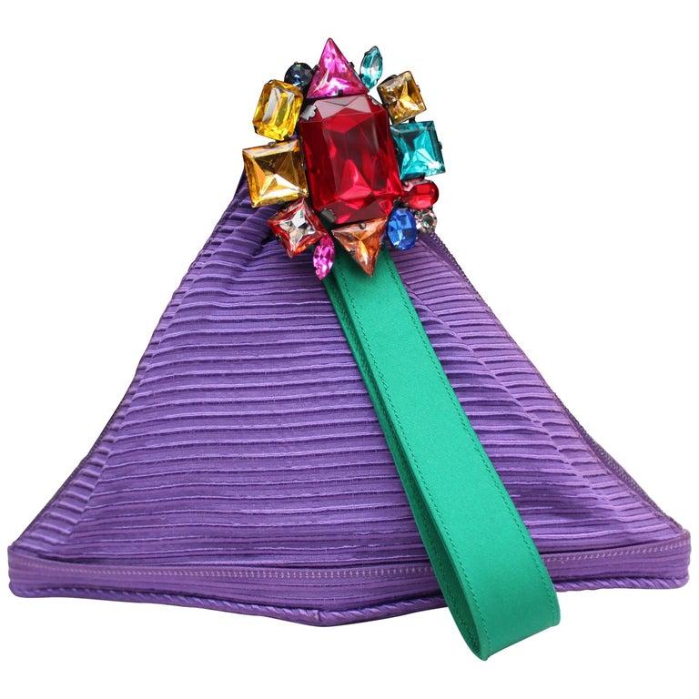 Renaud Pellegrino purple and green jewel evening bag