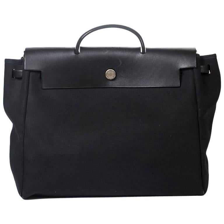 HERMES Herbag Backpack MM in black Toile Officier