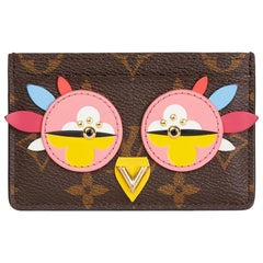 2016 Louis Vuitton Brown Monogram Coated Canvas Multicolour Owl Card Holder