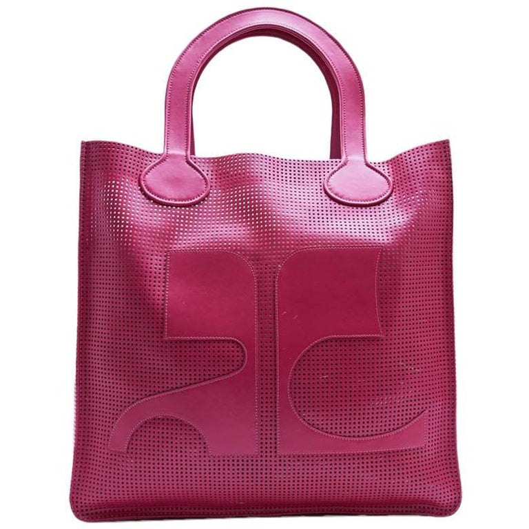 COURREGES Large Tote Bag in Perforated Pink Leather