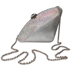 Rodo silvery leather small evening bag