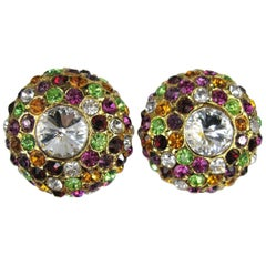 1980s Dominique Aurientis Massive Rainbow Swarovski Crystal Earrings New