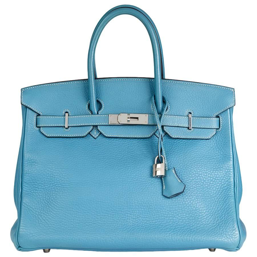 75a62dde0a15 ... purchase 2002 hermes blue jean fjord leather birkin 35cm 11b16 b48af
