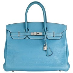 2002 Hermes Blue Jean Fjord Leather Birkin 35cm