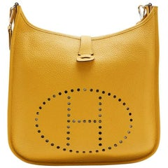 HERMES 'Evelyn II' Bag in Yellow Togo Grained Leather