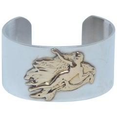 Pierre Cardin Sterling  Silver / Gold Vintage Cuff  Bracelet