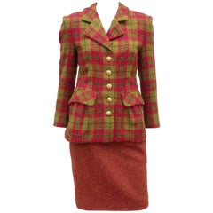 C.1980 Adolfo For Saks Fifth Avenue Plaid Boucle Skirt Suit