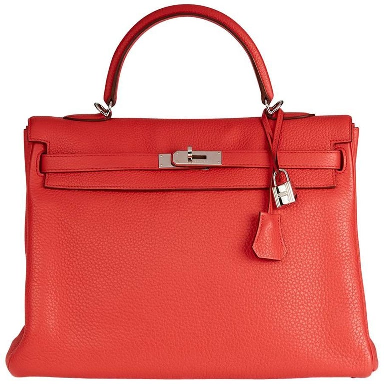 2010 Hermes Bougainvillier Togo Leather Kelly 35cm Retourne