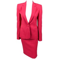 1980's Gianni Versace Couture Shocking Pink Wool Skirt Suit