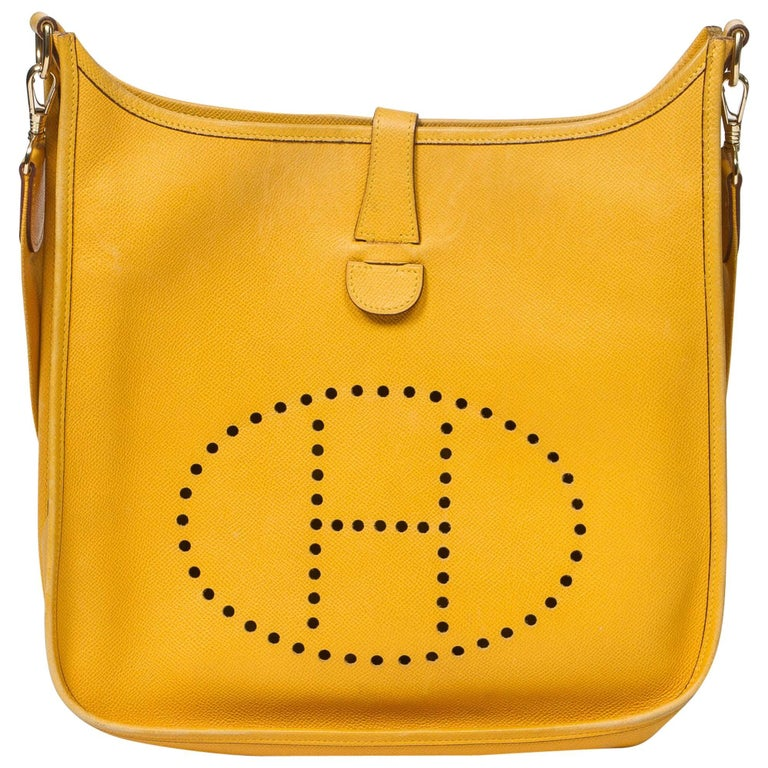 HERMES Evelyne GM in yellow Courchevel leather