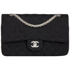 1996 Chanel Black Quilted Jersey Fabric Vintage Medium Classic Double Flap Bag