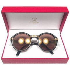 Mint Cartier Cabriolet Round Black & Gold 49MM 18K Gold Sunglasses France 1990's