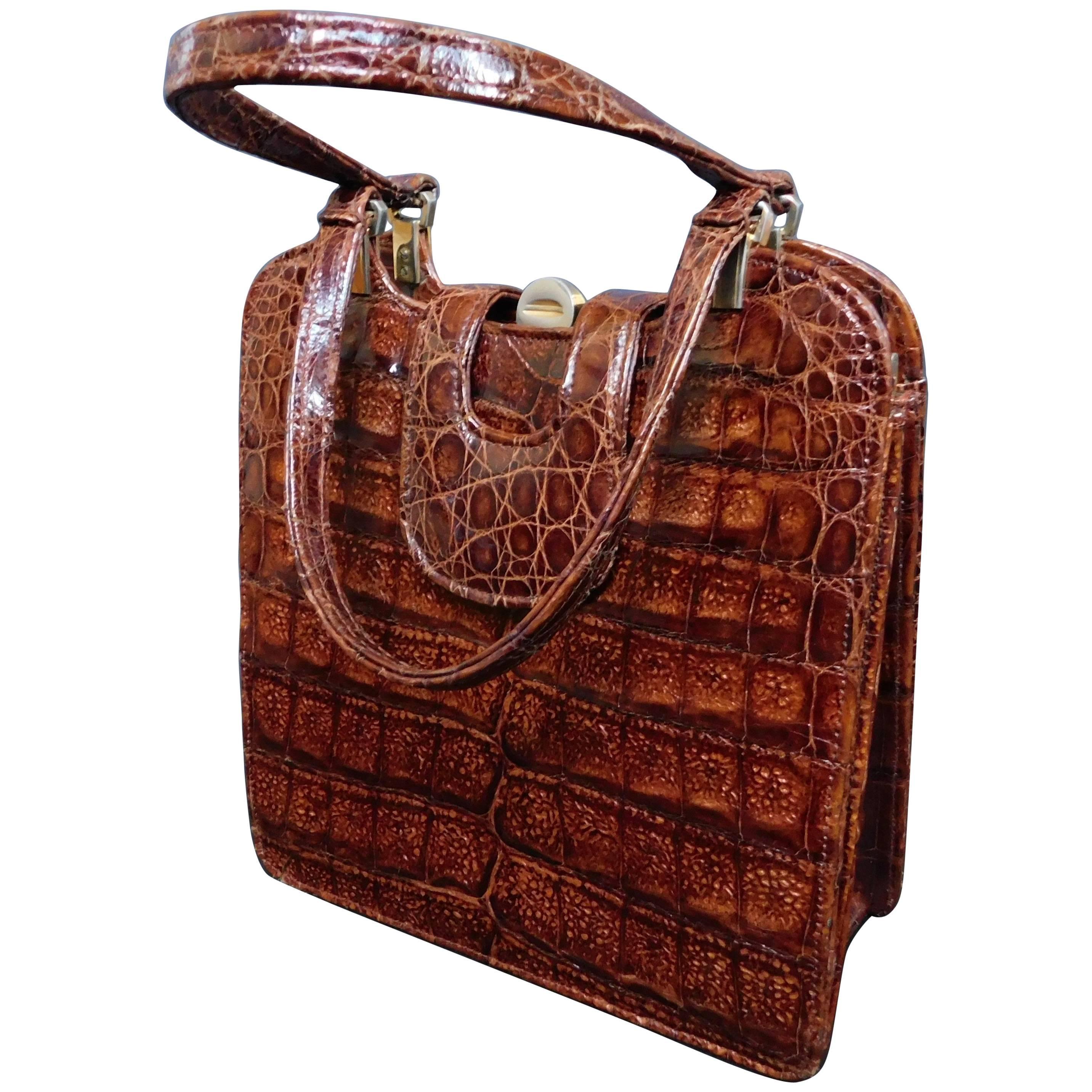 1stdibs Vintage Carmel Crocodile Skin Handbag vA4YpwLGG
