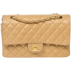 CHANEL Classic Double Flap 26cm in beige quilted leather