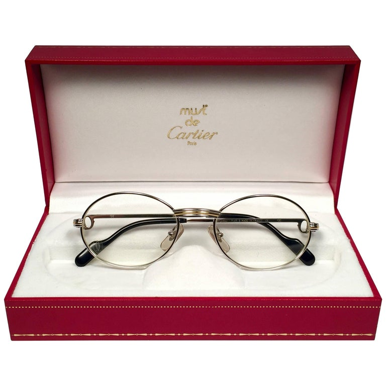 New Cartier Oval Platine St Honore 49mm Frame 18k Plated Sunglasses France