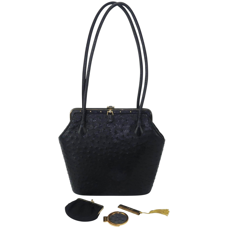 Judith Leiber Large Vintage Black Ostrich Handbag With Gold Studs oELw7Ez4u2