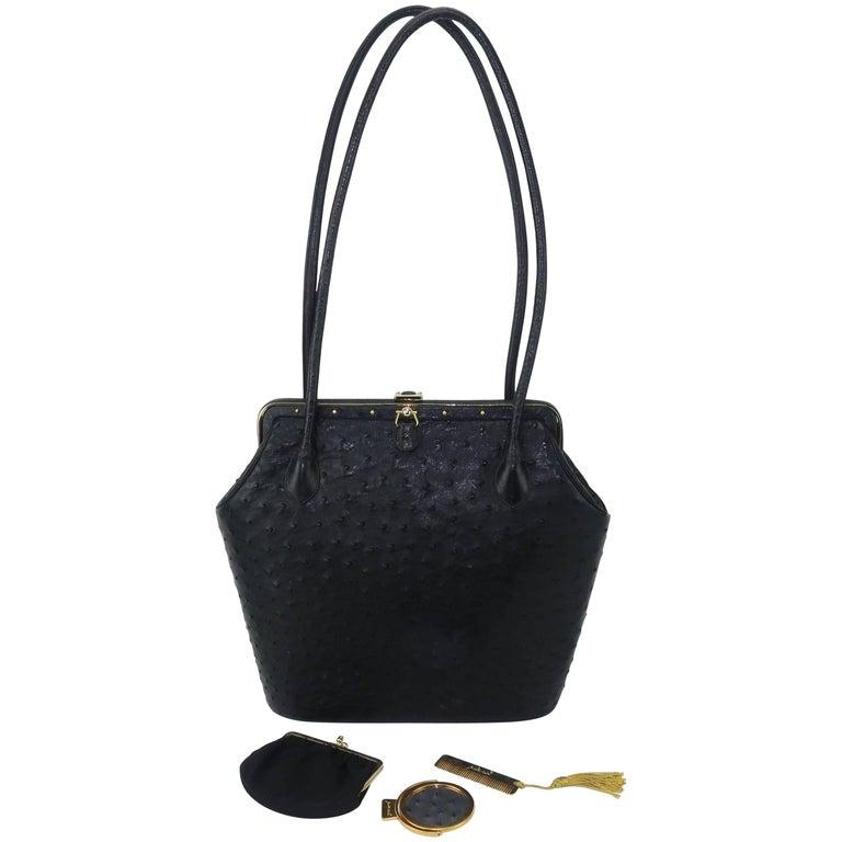 Judith Leiber Large Vintage Black Ostrich Handbag With Gold Studs For