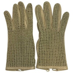 CHANEL Gloves in Beige Kid Leather and Crochet Size 7.5FR