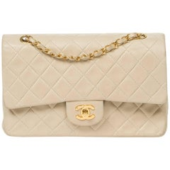 CHANEL Classic Double Flap 26 in ivory quilted lambskin