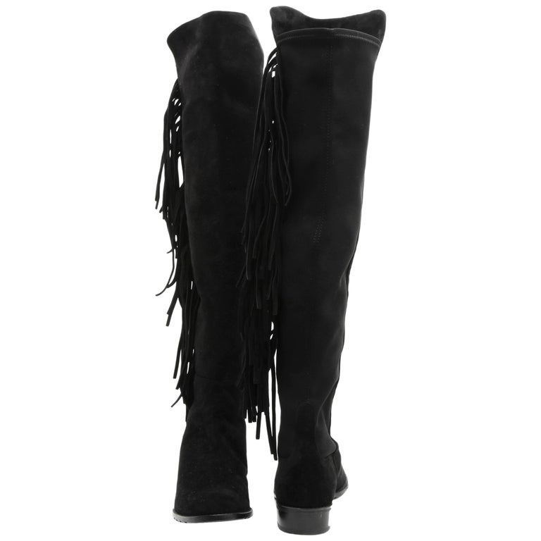 STUART WEITZMAN Fringed Boots in Black Suede and Stretch Size 40FR