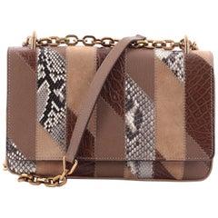 Prada Chain Flap Shoulder Bag Mixed Media Patchwork Small