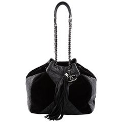 Chanel Patchwork Drawstring Bag Quilted Leather and Suede Large