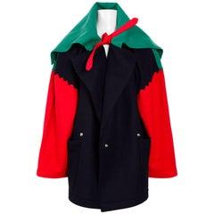 JEAN CHARLES DE CASTELBAJAC 1980s Color-Blocked Huge Wool Blanket Coat