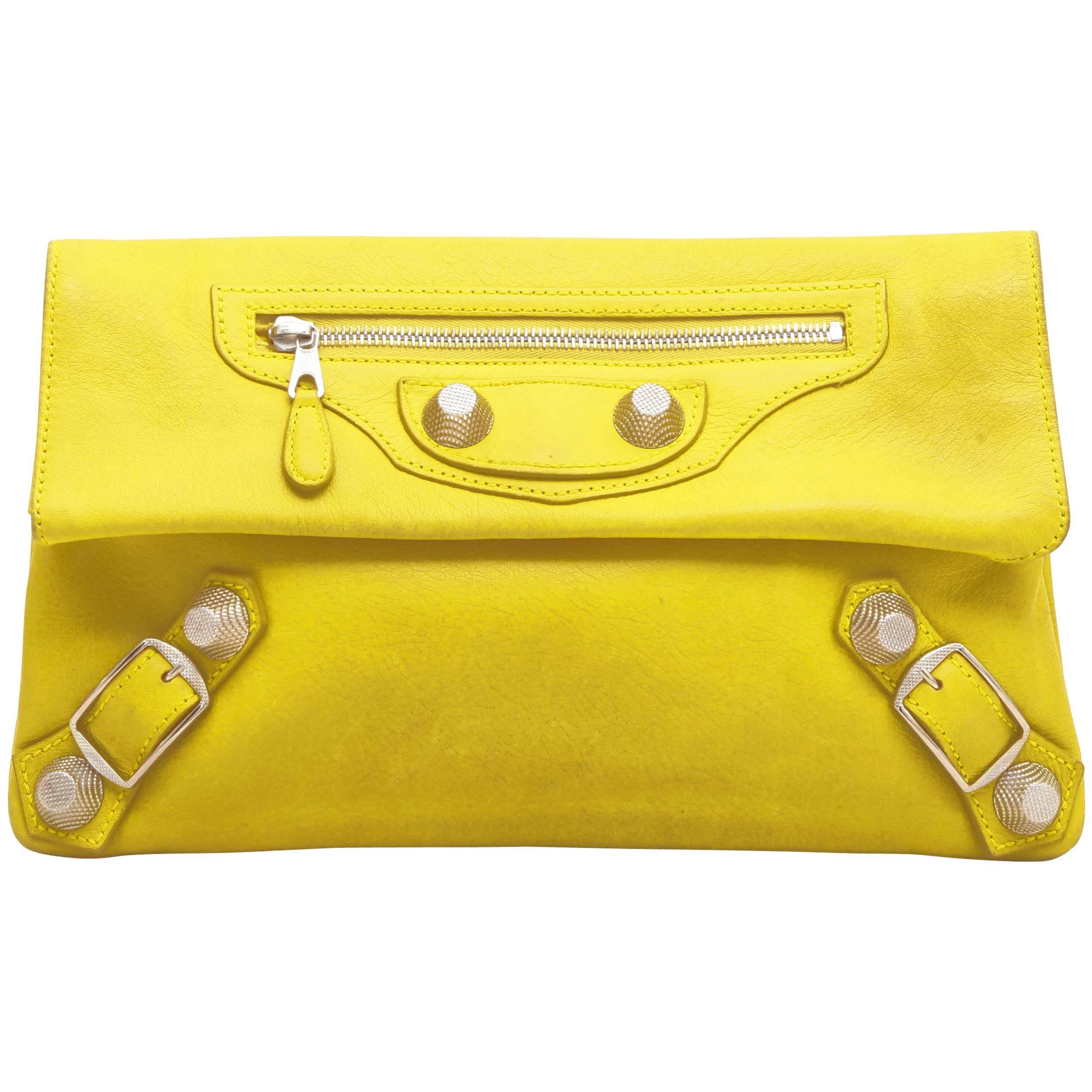 BALENCIAGA 'Giant Envelope' Clutch in Yellow Leather