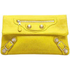 BALENCIAGA 'Giant Envelope' Clutch in Yellow Leather