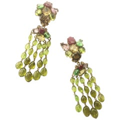 Iradj Moini very long semi precious drop earrings, 1990s