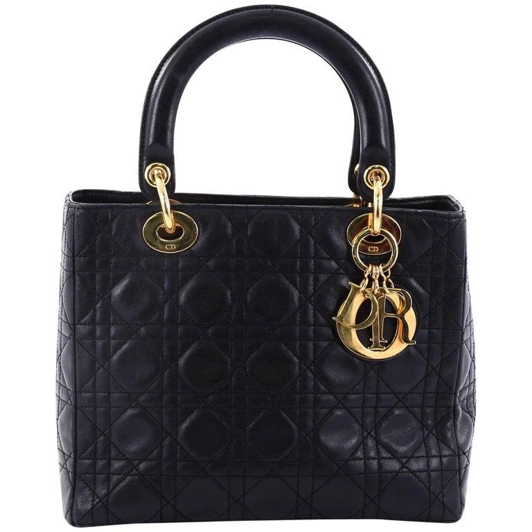 14daf187d26e Christian Dior Lady Dior Handbag Cannage Quilt Lambskin Medium For Sale